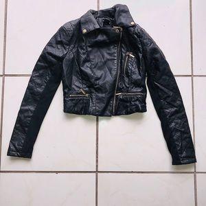Black Cropped Biker Jacket BRAND NEW